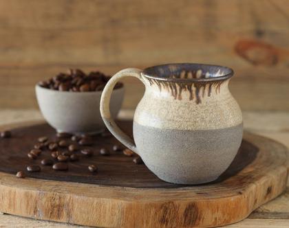 ספל קפה מקרמיקה, ספל אספרסו, ספל לשתייה חמה, ספל לנס קפה, ספל עם ידית, ספל מעוצב, ספל כפרי, ספל לבן אפור, מתנה למטבח (מיוצר לפי הזמנה)