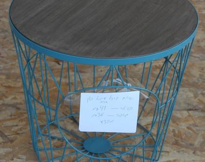 """שולחן 41 ס""""מ עגול מתכת ועץ"""
