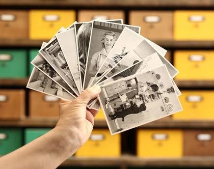 סט גלויות: ביוטי. צילומים בשחור לבן מסטים של פרסומות ישנות