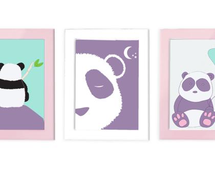 שלישית תמונות בעיצוב פנדה לחדר הילדים