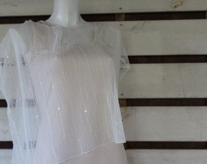 קטי שאנס-חולצת לבנה /חולצת רשת מכותנה