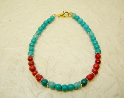 צמיד טורקיז | צמיד אבני חן | צמיד קורל | צמיד אבנים כחולות ואדומות | צמיד לאישה ולגבר
