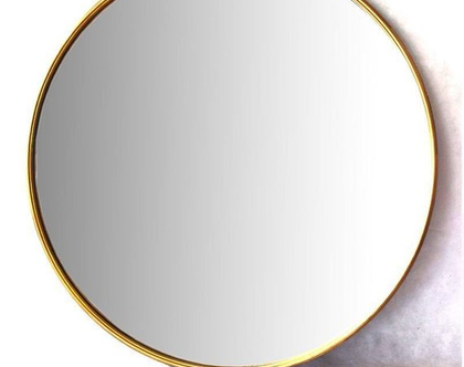 מראה מברזל עגולה צבע זהב קוטר 85 סמ