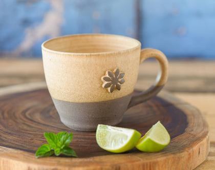 ספל קפה מקרמיקה, ספל מעוצב, ספל עם פרח, ספל אפור מקרמיקה, ספל לבן שמנת, כוס לשתייה חמה, כוס גדולה מקרמיקה, ספל חרס, כוס תה (מיוצר לפי הזמנה)