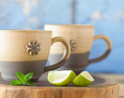 סט ספלים מקרמיקה, זוג ספלים לקפה, 2 ספלים מקרמיקה, סט כוסות מעוצבות, כוס מעוצבת מחמר, ספל עבודת יד, ספל חרס, כוסות עם ידית (מיוצר לפי הזמנה)