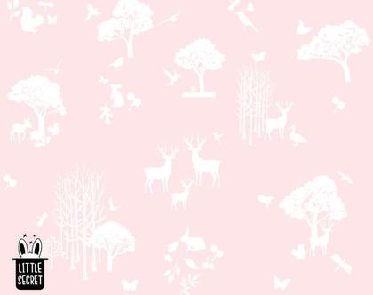 טפט חיות יער ורוד