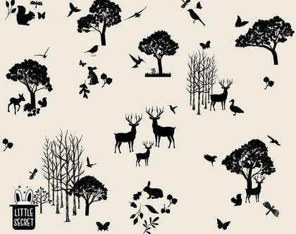 טפט חיות יער בז' שחור