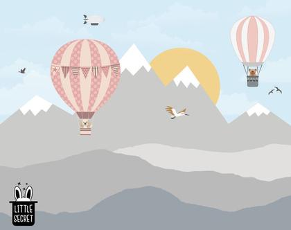 טפט הרים וכדורים פורחים תכלת ורוד