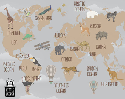 טפט מפת העולם חום אפור