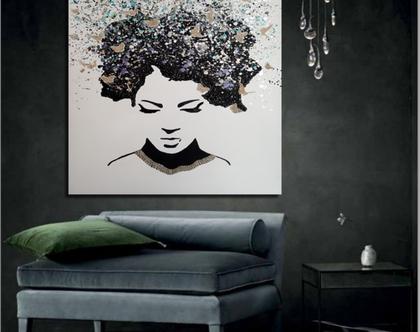 """""""מחשבות פרועות"""" - ציור אבסטרקטי בעבודת יד של פני אישה עם טקסטורות מובלטות, פרפרים והזלפות צבע.."""