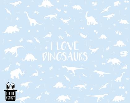 טפט דינוזאורים לבן תכלת