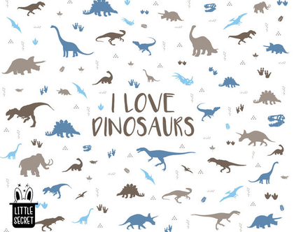 טפט דינוזאורים חום כחול לבן