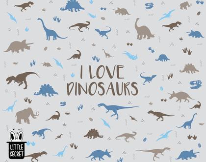 טפט דינוזאורים חום כחול אפור