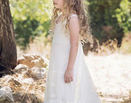 שמלת תחרה מקסי לשושבינה בצבע שמנת. בובל'ה שמלות. שמלת תחרה לילדה. שמלת מקסי. שמלת תחרה לילדה. שמלת שושבינה