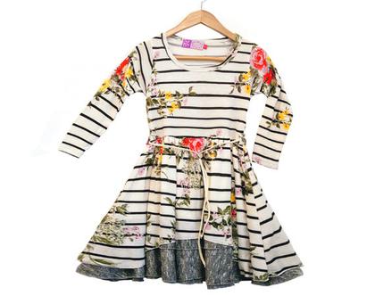 שמלה עם שרוולים לילדה , שמלת היפ הופ פרחים