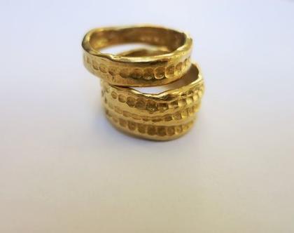 טבעת רחבה מזהב 14k טבעת נישואין מרשימה ומקורית