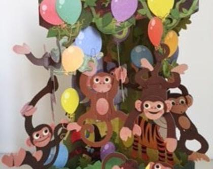 SC142 כרטיס ברכה חגיגת קופים תלת מימד SANTORO