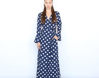 שמלת נקודות - כחול