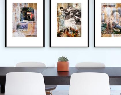 מבצע! | סט 3 הדפסים למיסגור גודל A3 | הדפסים למיסגור | סטיילינג לבית | עיצוב לבית | הום סטיילינג | קיר גלריה | בהשראה יפנית |