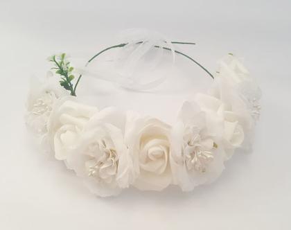זר לראש | משי | זר פרחים | עיטור ראש | כתר | חגיגה | יום הולדת | קישוט | ורדים | לבן פנינים | זר לבוק | פרום | מלאכותי