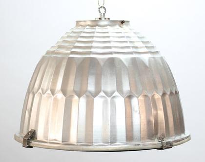 מנורת וינטאג׳ תעשייתית גדולה מאלומיניום וזכוכית