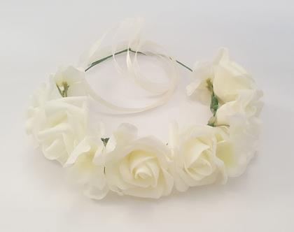 זר לראש | משי | זר פרחים | עיטור ראש | כתר | מסיבת רווקות | יום הולדת | בת מצווה | ורדים | שמנת | זר לבוק | פרום | מלאכותי