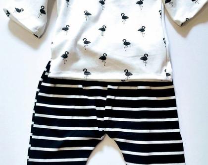 מכנס טריקו פסים שחור לבן/ מכנס לתינוק / מכנס לתינוקת