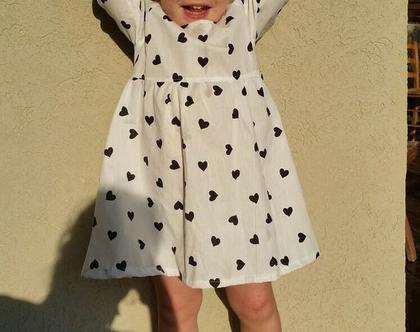שמלת לבבות לבנה/ שמלה לילדות