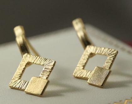 עגילי כפתור מזהב 21k | עגילי ציפוי 21k מיוחדים | זהב 14k | עגילי ריבוע | עגילים מעוצבים מעוינים | עגילים קטנים | עגילים צמודים