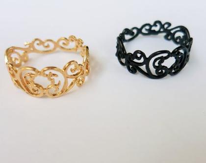 טבעת תחרה מזהב טבעת עדינה טבעת קעקוע