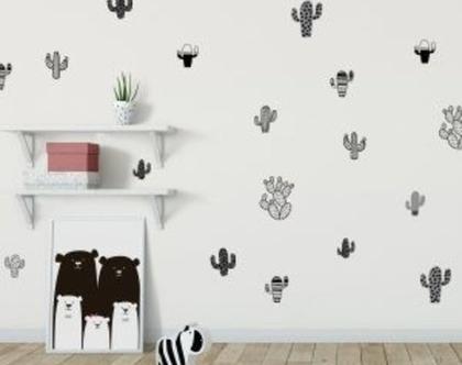 מדבקות קיר לחדרי ילדים, מדבקות לעיצוב החדר, מדבקות קיר קקטוסים