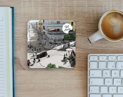 תחתית לכוס: רח' שינקין פינת אלנבי תל-אביב בצבע