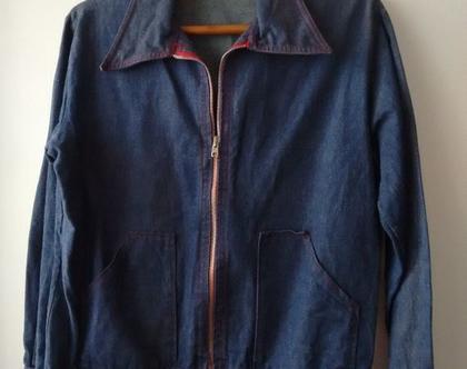 ג'קט ג'ינס U.S.A   ג'קט ג'ינס וינטג' עם רוכסן   ג'קט ג'ינס משנות ה60' מידה M L