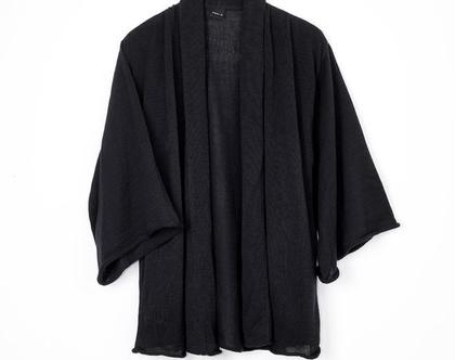 קרדיגן שרוול קימונו שחור, סריג מיוחד, קרדיגן עם שרוולים רחבים, סריג שחור