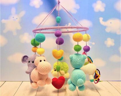 מובייל התפתחותי לתינוק -בובות פילפילון,כבשה,חד קרן,דובי,היפופוטם