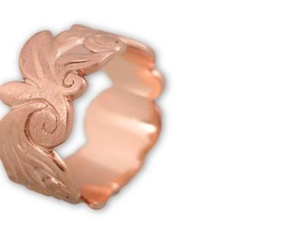 טבעת נישואין זהב אדום, טבעת רחבה זהב 18K, טבעת נישואין מעוצבת, טבעות נישואין מיוחדות, טבעת נישואין לאישה, טבעת זהב מעוטרת
