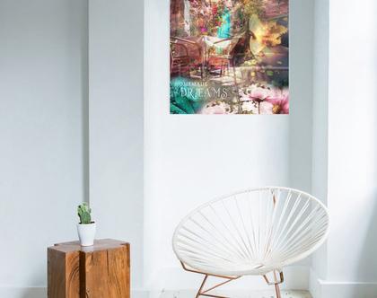 קנבס יפהפה לבית | קולאז' דיגיטלי | תמונה עם כיתוב | HOMEMADE DREAMS | אמנות מודרנית | תמונה מיוחדת לבית | אמנות מקורית | סטיילינג לבית