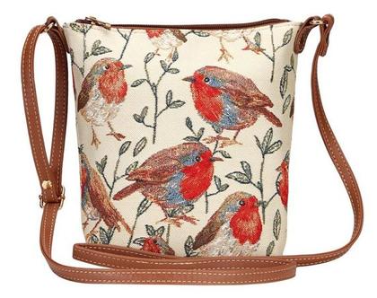 """תיק צד קומפקטי לאישה ולנערה ממותג תיקי הגובלן """"סיגנרי"""" דגם ציפורים."""