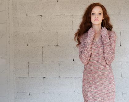 שמלת סריג דקיק | ורוד משתנה