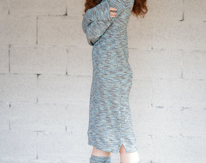שמלת סריג דקיק | טורכיז משתנה