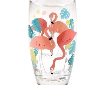 כוס זכוכית הדפס פלמינגו | SOFI