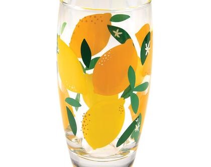 כוס זכוכית הדפס לימונים| SOFI