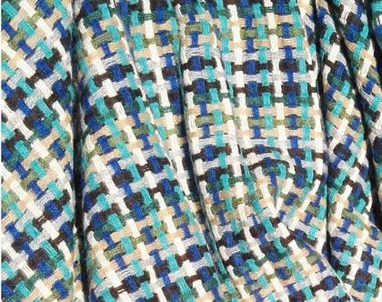 כירבולית צמר מרינו 100% שמיכת טלוויזיה מצמר שמיכה חורפית עיצוב סלון שמיכה דו צדדית כירבולית כחולה