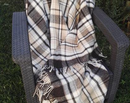 שמיכת טלוויזיה מצמר 140*200 כירבולית שמיכה לחורף שמיכת צמר ואקרילן כירבולית לחורף כירבולית צמר שמיכה בצבה חום