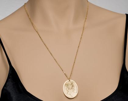 שרשרת זהב / שרשרת אייל מיוחדת / שרשרת חיות / תליון בציפוי זהב / שרשרת אובלית