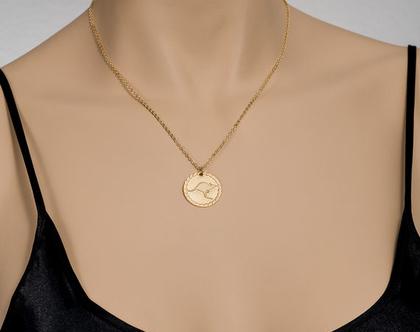 שרשרת קנגרו / שרשרת זהב / תליון בסגנון וינטאג' / תליון בציפוי זהב / שרשרת חיות/ שרשרת אמא ובת
