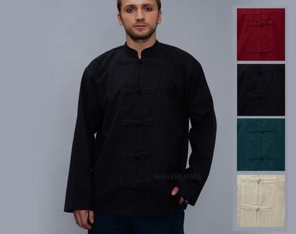 חולצת גברים בסגנון סיני - שחור