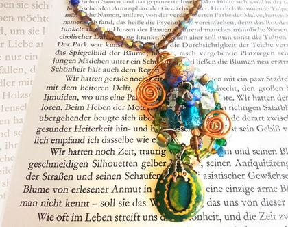 שרשרת פיסולית מיוחדת | בוהו שיק | שרשרת צבעונית יפה | תכשיט בעיצוב מקורי | שרשרת עבודת יד | One Of A Kind | מתנה מקורית לאישה מיוחדת |