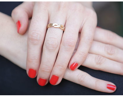 טבעת נישואין מזהב 14K עם טקסטורה, טבעת נישואין, טבעת נישואין זהב, טבעת דקה, טבעת קלועה