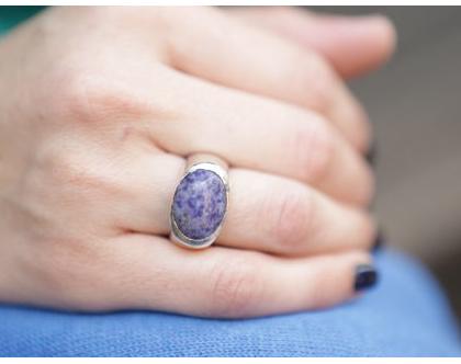 טבעת חותם בשילוב אבן סגולה מכסף 925
